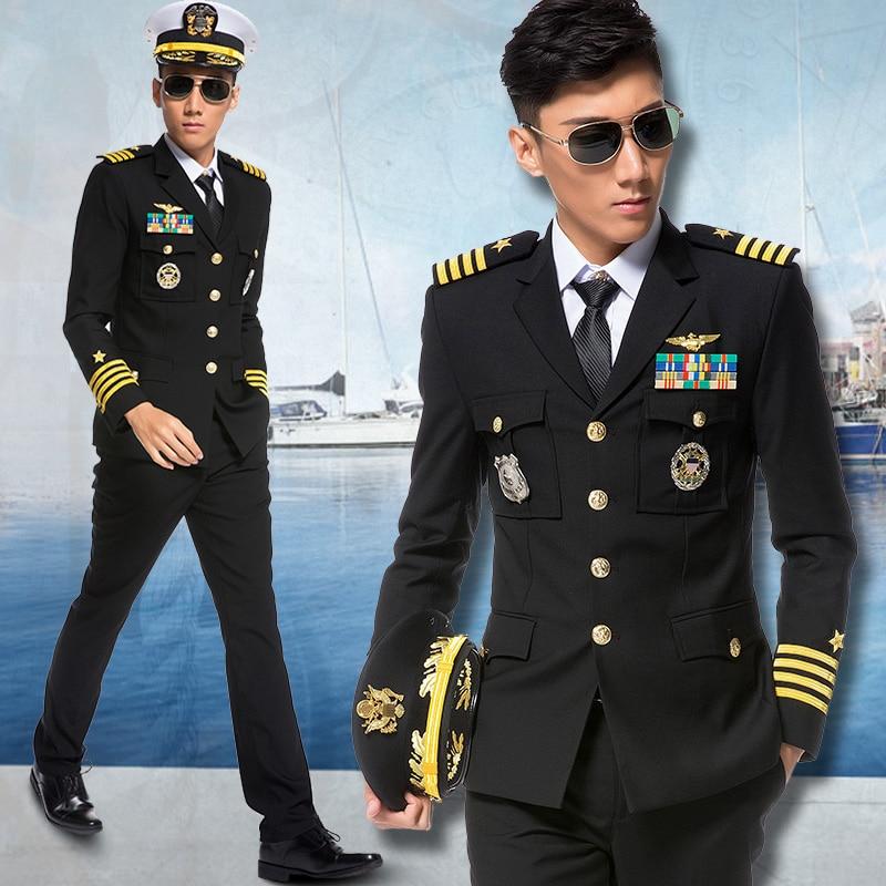 2019 Spring Autumn Fashion Mens Captain Pilot Uniforms Suits Long Sleeve Solid Men Dress Jacket+Pants+Accessories Plus Size