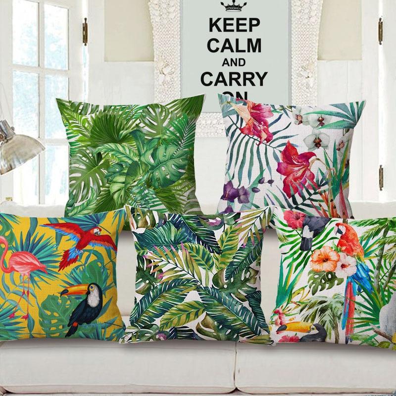 Flamingo Hibiscus Flower Beige Cushion Covers Parrot Bird