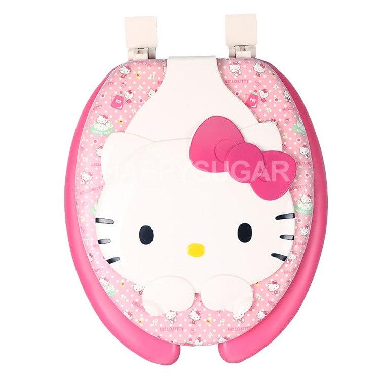 Korean Genuine Hello Kitty Toilet Seat Cover Toilet Lid U Shape 44cm*36cm kitbob221hoshg2500 value kit hospeco health gards toilet seat covers hoshg2500 and bobrick stainless steel toilet seat cover dispenser bob221