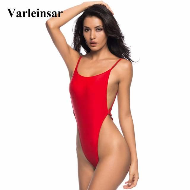9158b0671ba45 Online Shop Sexy High Cut Leg Thong Swim Suit For Women Swimwear One Piece  Swimsuit Female Bather 2019 Bathing Suit Backless Monokini V478