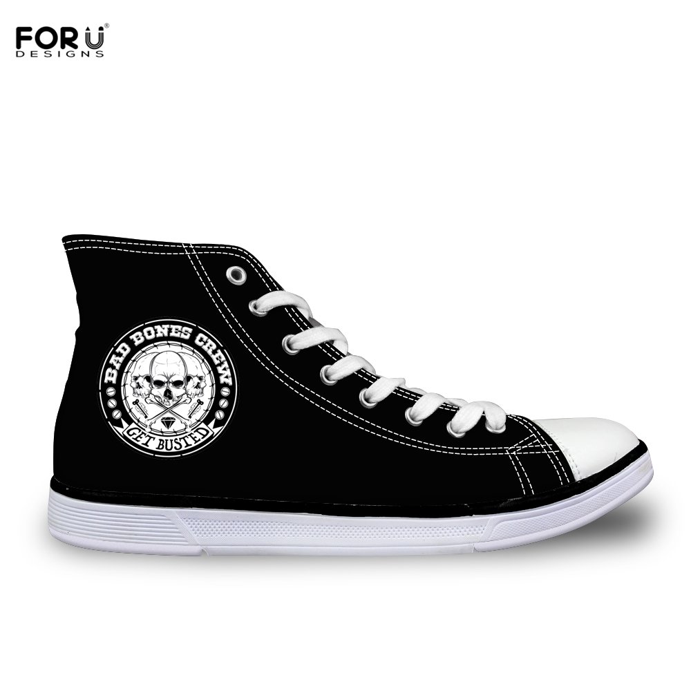 FORUDESIGNS Cool Skull Printing Men Canvas Shoe High Top Shoes Punk Flat Vulcanize Shoen For Boys