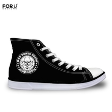 FORUDESIGNS Cool Skull Printing Men Canvas Shoe High Top Shoes Punk  Flat Vulcanize Shoen For Boys Male Black Flats Quality