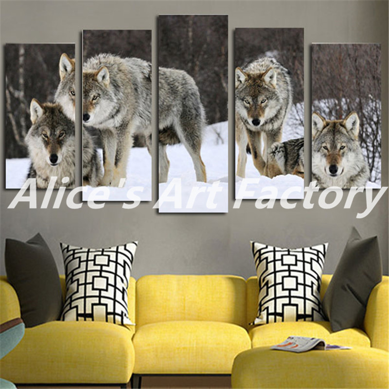 2016 Wall Painting Hd Printed Wolf Pack Snow Animal