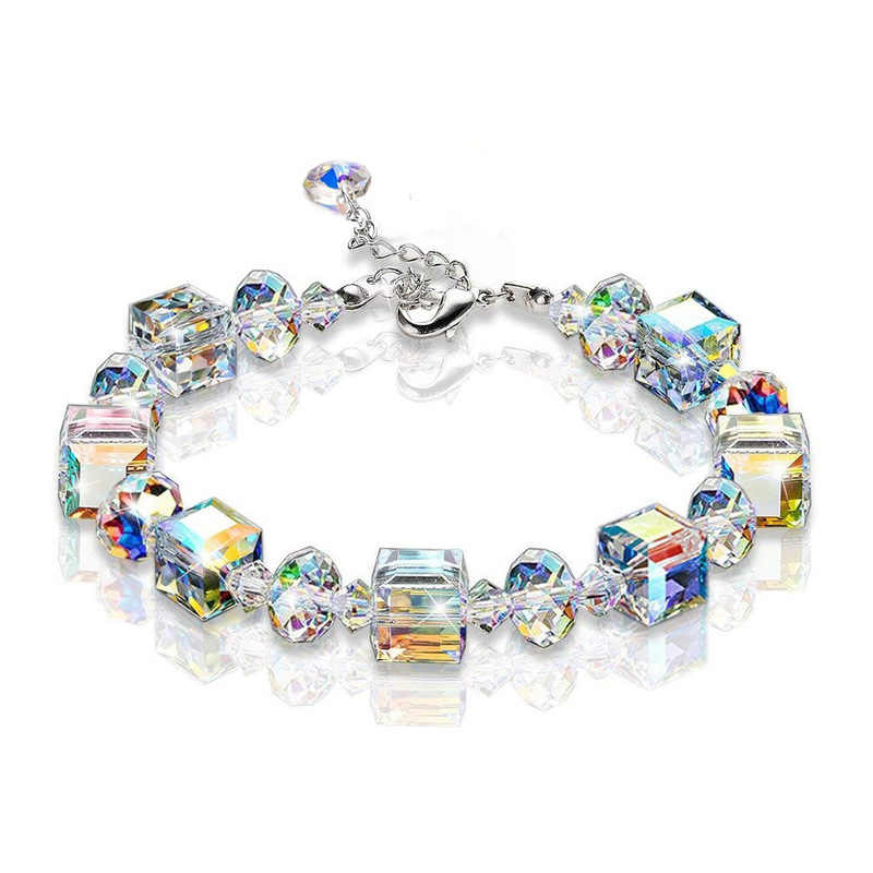 Women Sparkling Aurora Crystals Link Chain Stretch Bracelet Fashion Jewelry Gift