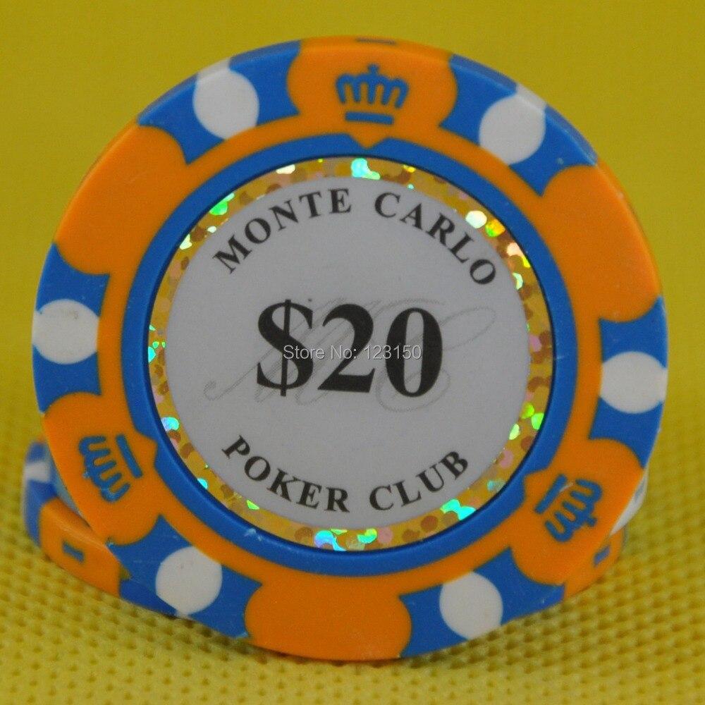 PK-8002A 50pcs/pack Clay 14g Poker Chips insert metal 14 denomination