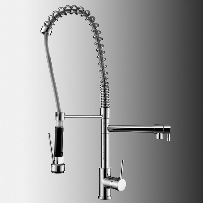 Online Pull Down Pre Rinse High Arc Spring Kitchen Faucet With Pot Filler Water Swivel Dual Spray Chrome Br Sink Mixer Aliexpress
