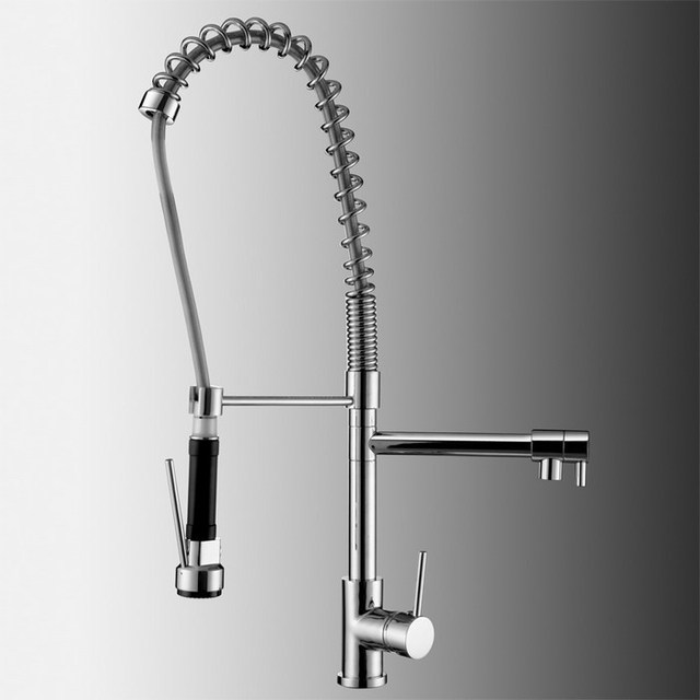 Pull Down Pre Rinse High Arc Spring Kitchen Faucet With Pot Filler Water