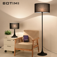 BOTIMI Modern White Black Floor Lamp With Fabric Lampshade For Living Room Bedroom Bedside E27 Hotel Cloth Standing Light