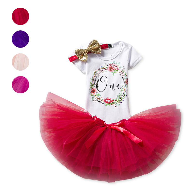 Summer 12M Baby Girls Printed T Shirt Tops + Tutu Skirt With Headband Kids Clothes Outfits Set BM88