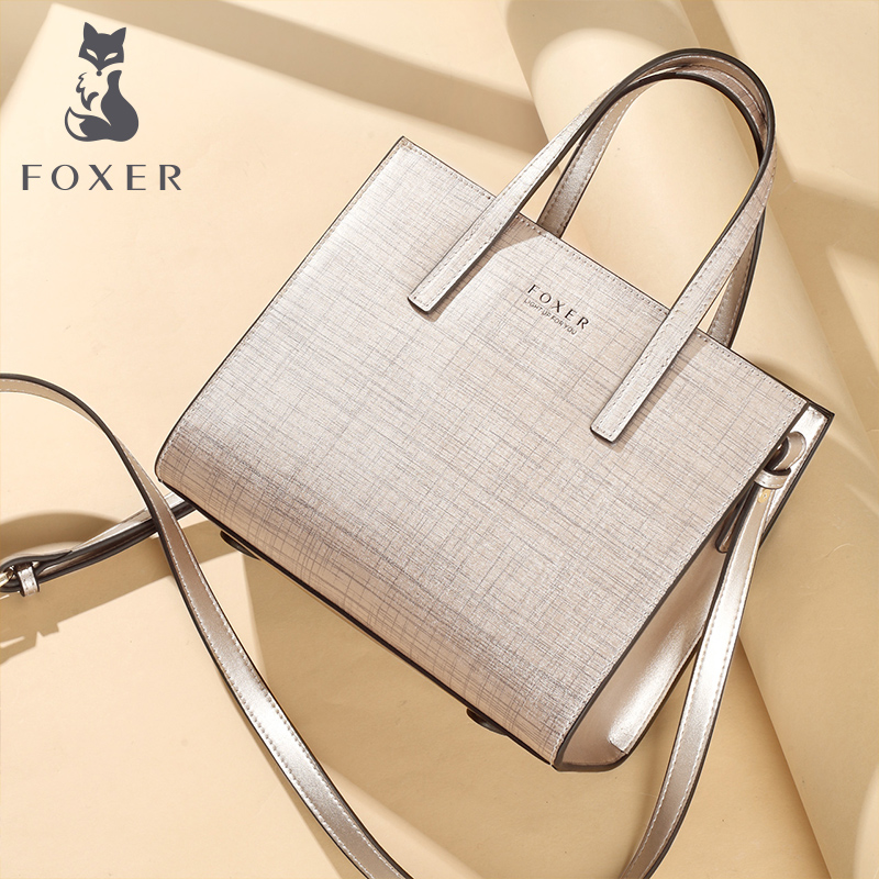 FOXER Women Fashion Leather Handbags Lady Shoulder Bag Simple Luxury Tote Bags For Female Classic High