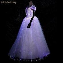 Ночное свечение светящееся свадебное платье переменный цвет для модельного модного подиума шоу Смарт мобильное приложение управляется переменным цветом