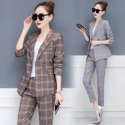 Women suits plaid suit set single breasted blazer coat + ankle-length pants suits two pieces set casual office ladies work wear клетчатый костюм женский