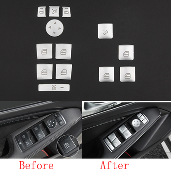 Fit For Mercedes-Benz E C CLA GLA GLE ML CLS Class 13pcs Chrome plate ABS Window Lift Button Sequins Decoration Cover Trim