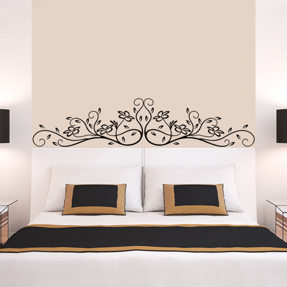 New Creative Removable Wall Decor Art Home Decal Mural Bedroom Flower Vinyl  Wall Sticker Bed Sofa Background Decoration Zb233