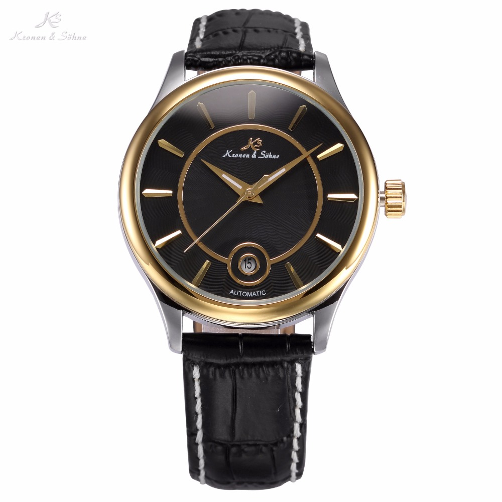 KS Luxury Auto Date Display Relogio Black Gold Leather Strap Clock Automatic Self Wind Mechanical Mens Casual Wristwatch /KS262 royal carving ks rose gold skeleton automatic self wind wristwatch male fashion clock leather strap mechanical watch gift ks294