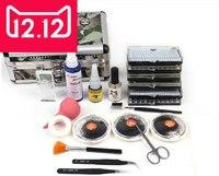 Moda Falsa Dupla Camada Beleza Enxertia Cílios Extension Kit Conjunto Completo com Caso De Prata para Salão de Beleza Maquiagem Frete grátis