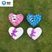 hand made low price high quanlity pink and blue stitch plush toys with soap flowers creative Valentine's and birthday for girls
