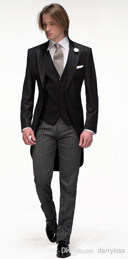 13b1073c3f9 Slim fit 1 Button Groom Tuxedos 2015 Black Long Jacket Striped Trouser  Groomsman Men Wedding Party Suits (Jacket+Pants+Tie+Vest)-in Suits from  Men s ...