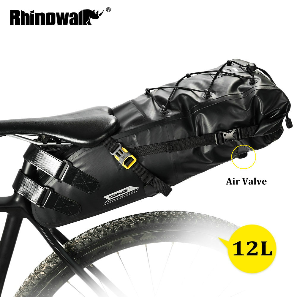 RHINOWALK 10L 12L Full Waterproof Bicycle Saddle Bag Road Mountain Bike Cycling Rear Rack Bag Luggage