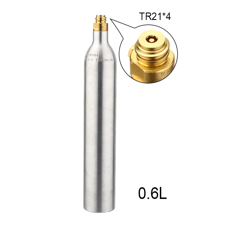 Soda water 0.6L Bottle Tank Cylinder with Valve TR21*4 High Compressed Bottle with Refill  Soda Adapter W21.8-14 or CGA 320