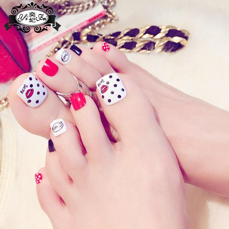24Pcs Beauty kiss Wave point toenails Short French Fake Nails Full ...
