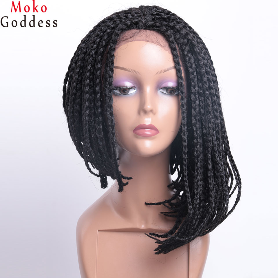 Ali MoKoGoddess 14 Inch Braided Box Braids wig Short Synthetic Lace Front Wigs For Black Women African American Bob Wigs