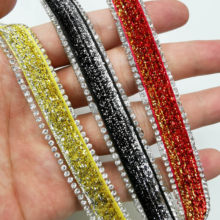 20cm Mix Color Rhinestones Ribbon Trim Hot-Fix Crystal Beads Strip Sew On Strass Stones Belt For Clothes Craft Decor(China)
