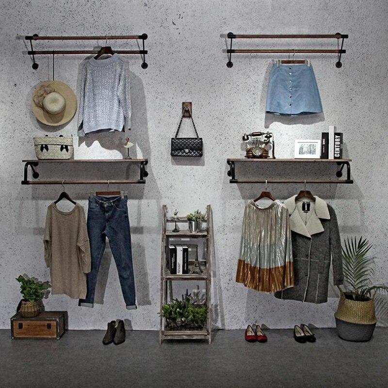 Кованое железо женская одежда магазин одежды стойка Дисплей стенд на стене боковые стойки настенные подвесные декоративные полки дисплея