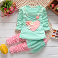 2014 spring and autumn Baby girl clothing children's long sleeve top+pantskirt love 2 pieces 4set/l