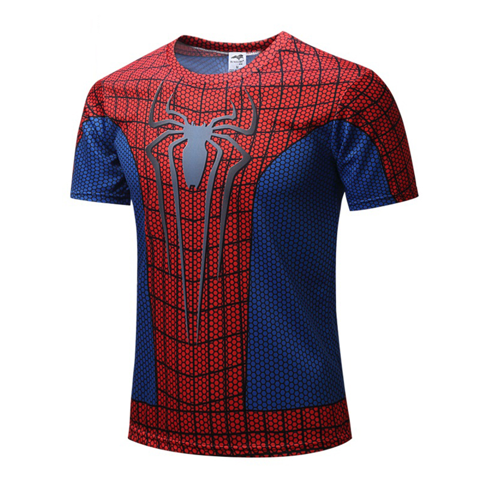 New 3D Spiderman Tops T-shirts Summer Fitness men shirt Superhero cosplay costume Tees