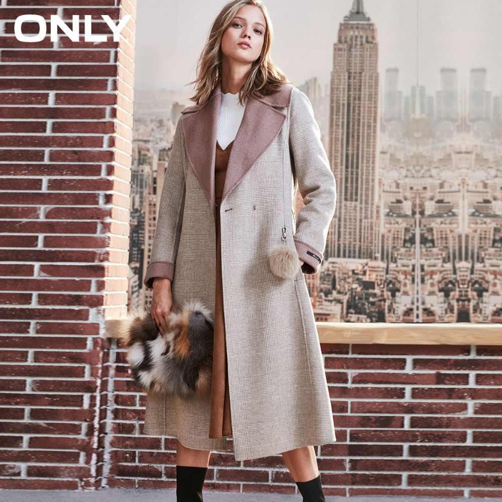ALLEEN 'winter nieuwe wol dubbelzijdig lange wollen jas Haar bal decoratie Rolled manchetten | 11836U504