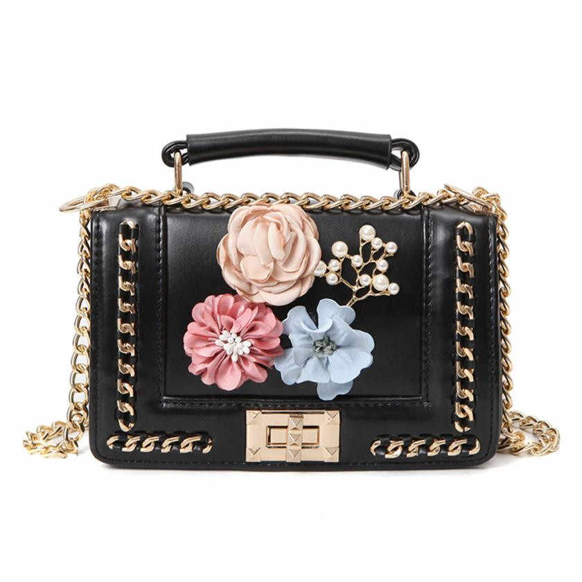 252eed636c4 Women Black Leather Evening Clutch Bags Envelope Flower Chain Ladies  Clutches Pink White Female Wedding Bag