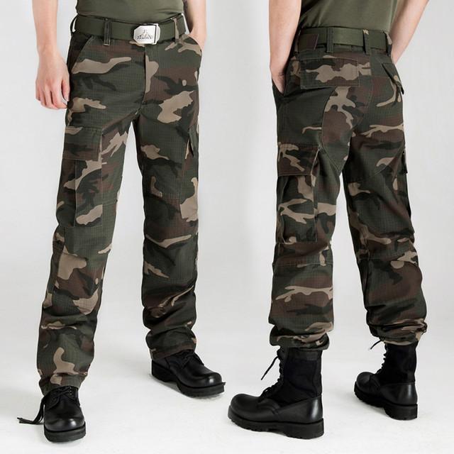 Más el tamaño 28-44 de hombre pantalones Cargo Millitary ejército táctico Camo Cargo Combat pantalones multiples bolsillos camuflaje Casual encuadre de cuerpo entero