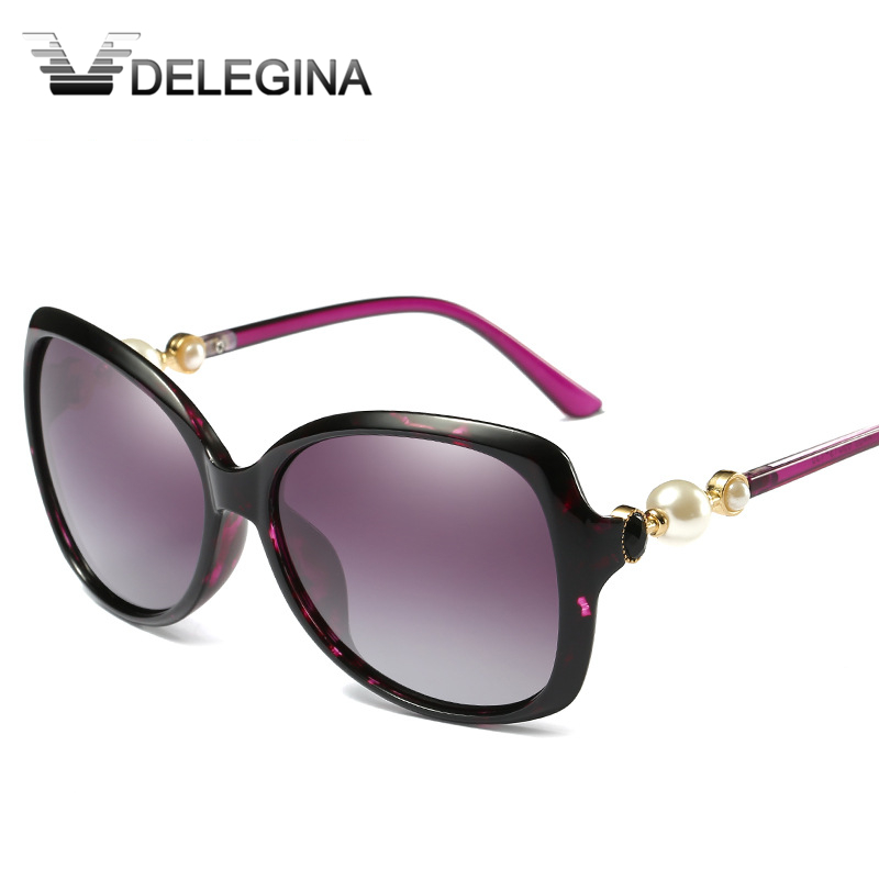 e94cabc3c8dd DELEGINA Pearl Polarized Sunglasses For Woman Ladies Large Sun Glasses  Brand Designer Goggles Superstar Eyewear