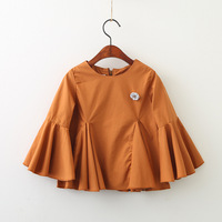 Everweekend Girls Ruffles Vintage Bell Sleeve Tees Shirts Candy Orange White Color Sweet Children Fashion Tops