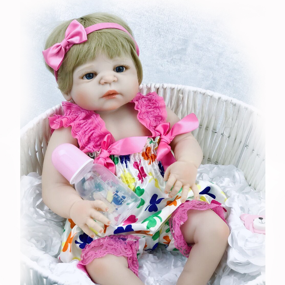 23'' Newborn Dolls Baby Toy Realistic Full Body Silicone Reborn Babies Girl Doll Can Bathe Babies Doll Twins Bebe Brinquedo Gift christmas gifts in europe and america early education full body silicone doll reborn babies brinquedo lifelike rb16 11h10