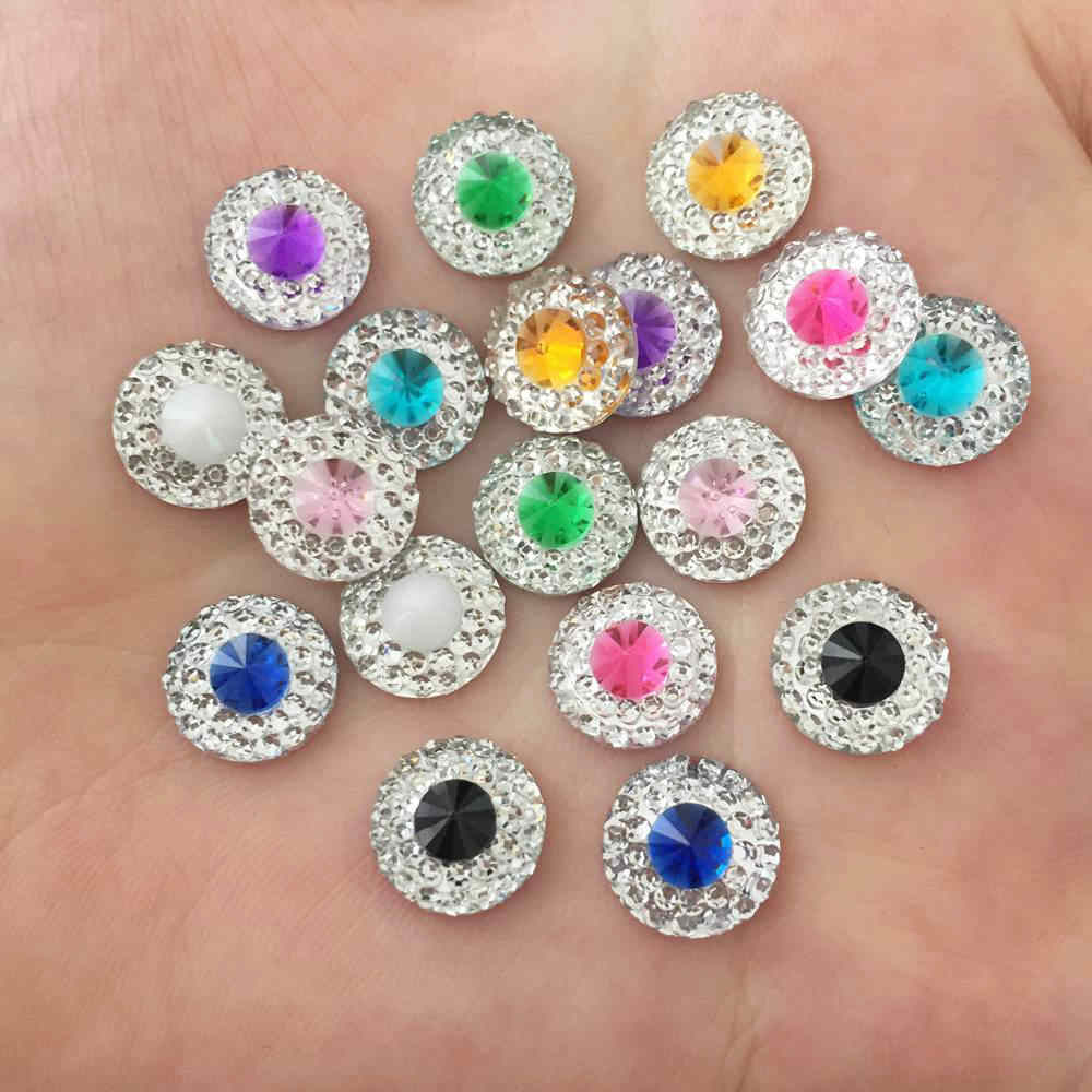 New 50pcs 10mm Resin Round Double Color Flatback Rhinestone Wedding Buttons DIY Craft K68