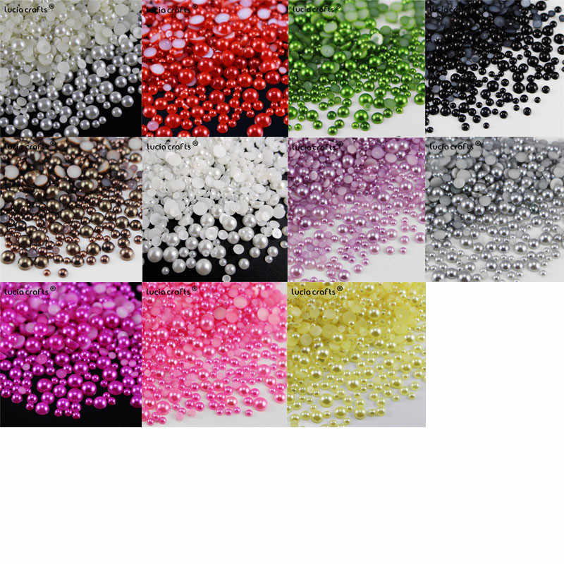 Lucia crafts Mixed 3/4/5/6mm Multi colors option ABS Resin Half Round Flatback Imitation Pearls 576pcs F0417