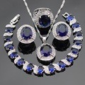 Blue Created Sapphire White CZ Silver Color Jewelry Sets Necklace Pendant Hoop Earrings Ring Bracelet For Women Free Gift Box