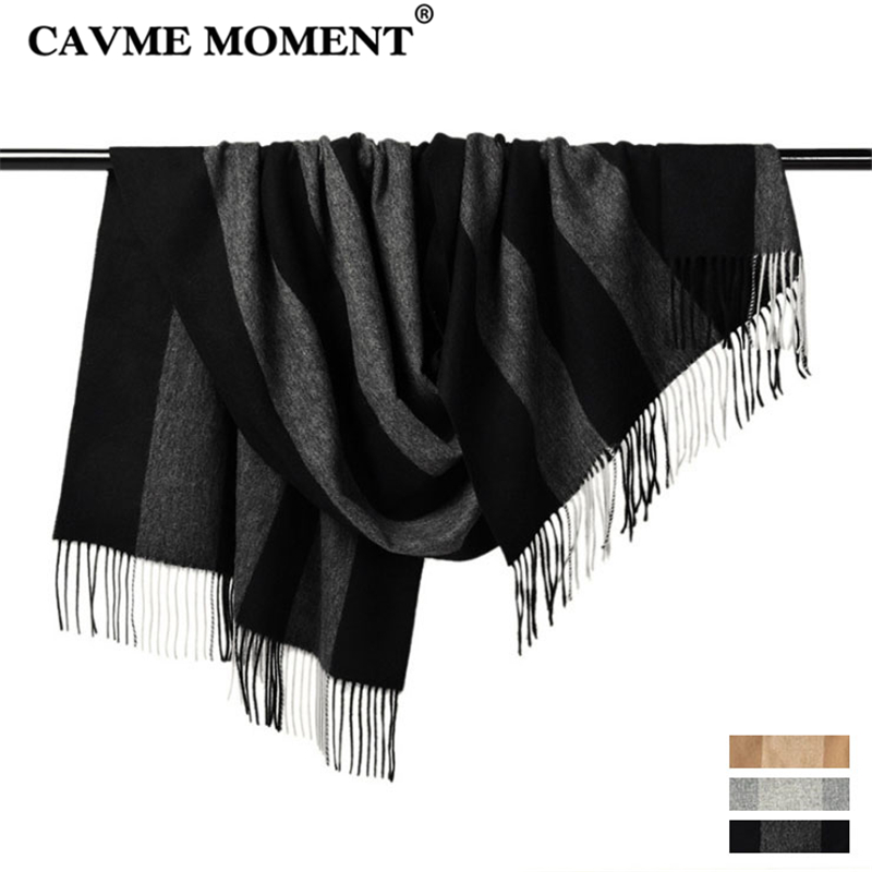 CAVME Winter 100% Wool   Scarf   for Women Ladies Men's Striped Long   Scarves     Wraps   Shawl with Tassels Black Gray Beige 70*180cm 330g