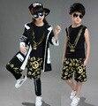 Boy hip hop ropa Muchachos y muchachas que bailan juego de Los Niños Fijaron traje de tigre 4 unids