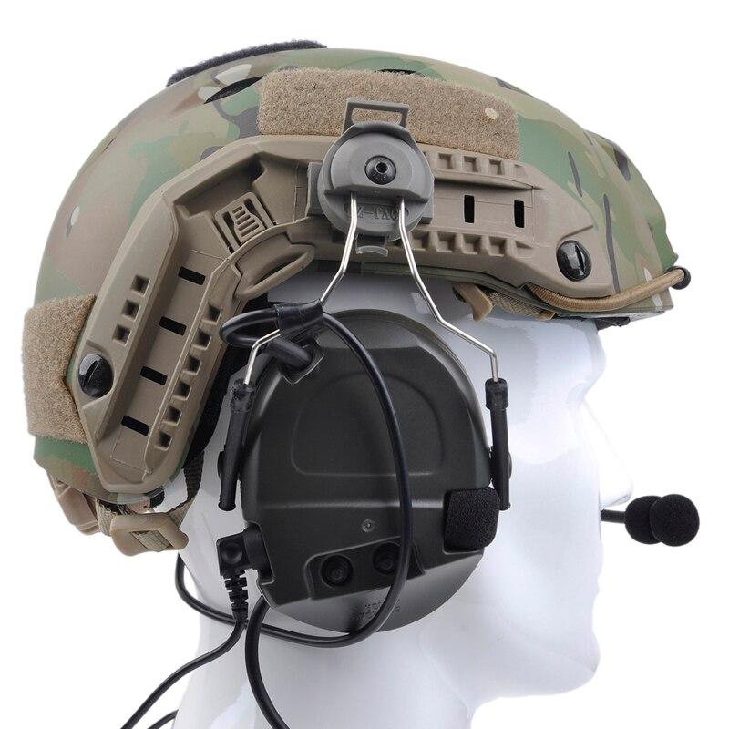 capacete ferroviário adaptador definido para capacetes rápidos fone de ouvido militar