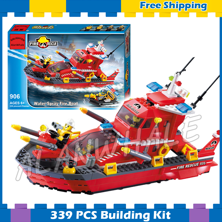 339pcs City Fire Boat Rescue Ships Station 3D 906 Model Building Blocks Kit Children Fireboats Starter Sets Compatible with <font><b>Lego</b></font> image