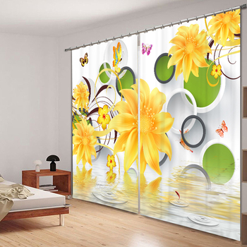 Blackout Curtains Panel Yellow Flowers 3D Circle Pattern Washable Fabric Children Curtains for Living Room Wedding Room Cafe Hot