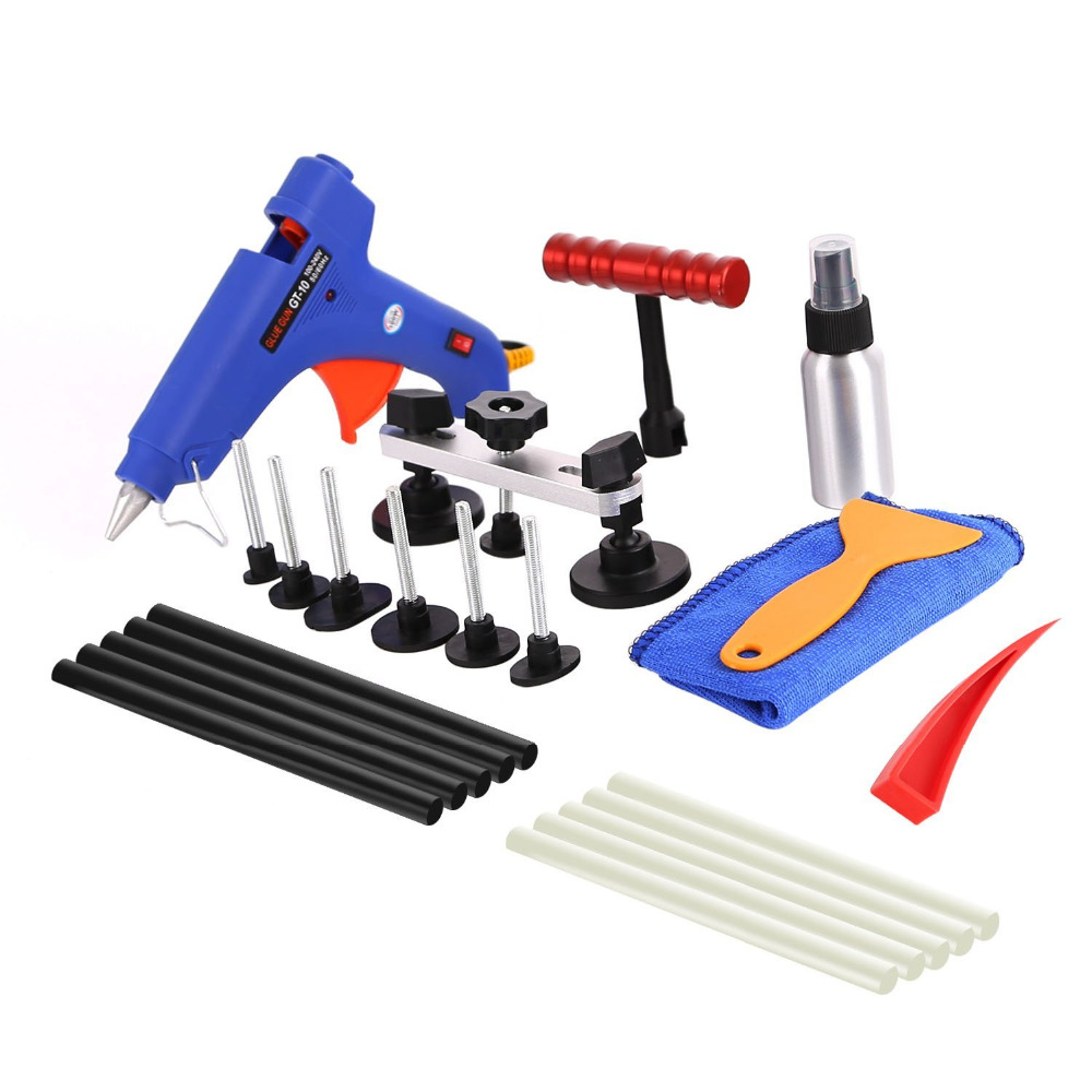 WHDZ Paintless Dent Removal Kit Auto Body Paintless Dent Repair Removal Tool Kits Dent Puller Bridge Glue Puller Kits With Glue