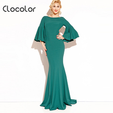 Clocolor Women Maxi dress  2017 Green Mermaid O neck Patchwork Pleated solid Vintage Button Party Spring Summer Maxi Dress