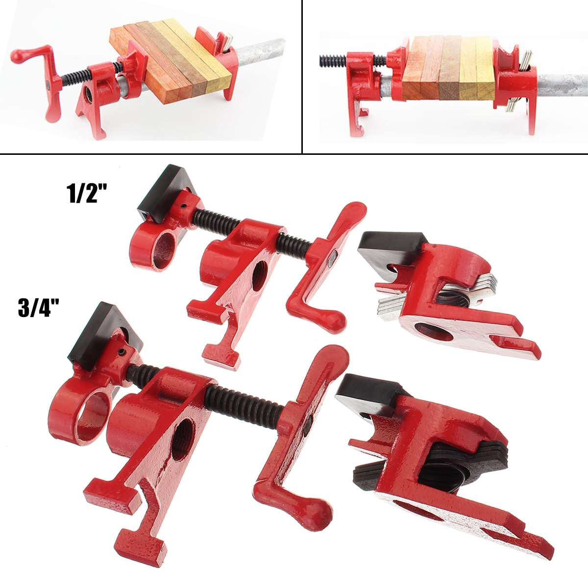 1/2'' 3/4'' inch heavy wood gluing pipe clamp woodworking