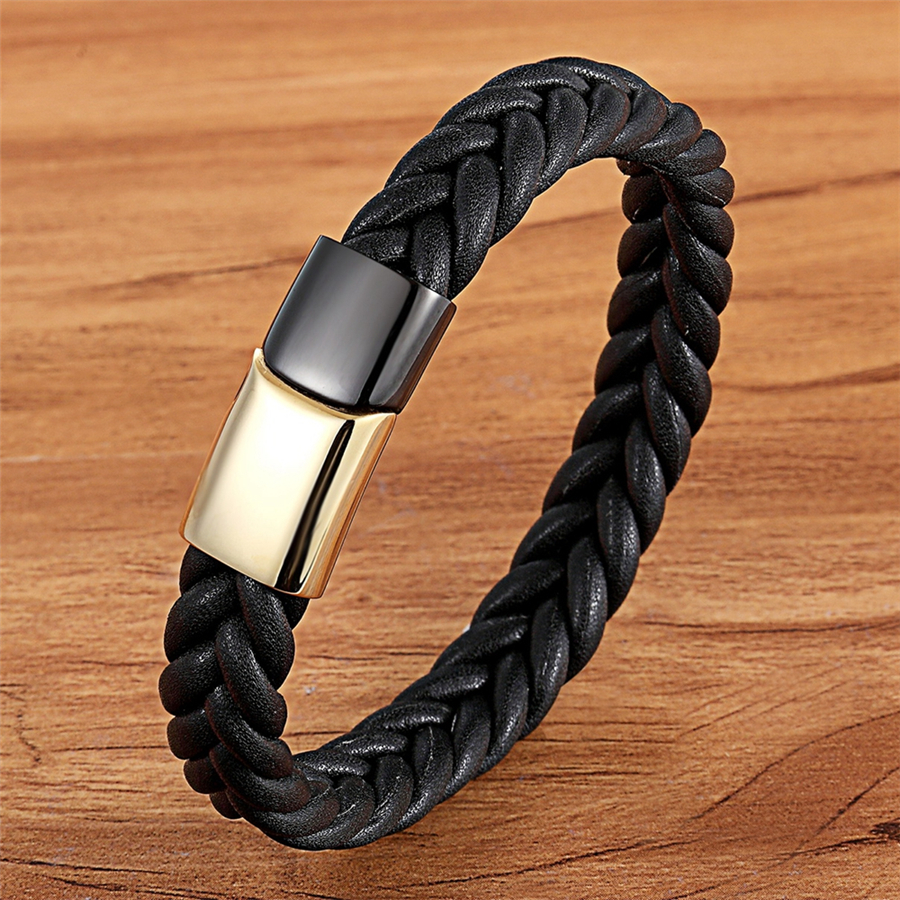 XQNI Geometric Braided Stainless Steel Buckle Clasp Genuine Leather Bracelet for Men Color Combination Design Hand Accessories