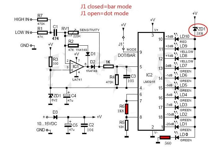 LM3915 10 LED רמת שמע חיווי VU Meter קדם מגבר מגבר כוח לוח ערכות Diy