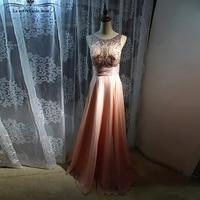 Formal evening gowns dresses 2018 new crystal back open A line peach vestidos de noite longos real photo prom dresses